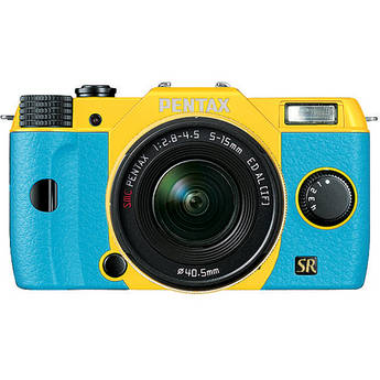 Pentax Q7 Compact Mirrorless Camera with 5-15mm f/2.8-4.5 Zoom Lens (Yellow/Aqua)