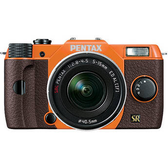 Pentax Q7 Compact Mirrorless Camera with 5-15mm f/2.8-4.5 Zoom Lens (Orange/Brown)