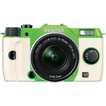 Pentax Q7 Compact Mirrorless Camera with 5-15mm f/2.8-4.5 Zoom Lens (Green/White)