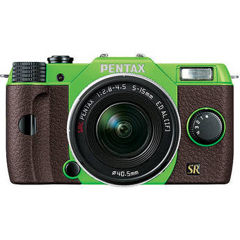 Pentax Q7 Compact Mirrorless Camera with 5-15mm f/2.8-4.5 Zoom Lens (Green/Brown)