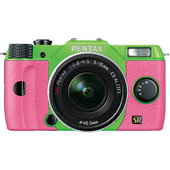 Pentax Q7 Compact Mirrorless Camera with 5-15mm f/2.8-4.5 Zoom Lens (Green/Pink)