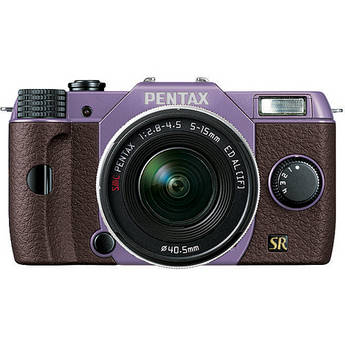 Pentax Q7 Compact Mirrorless Camera with 5-15mm f/2.8-4.5 Zoom Lens (Lavender/Brown)