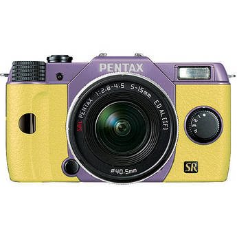 Pentax Q7 Compact Mirrorless Camera with 5-15mm f/2.8-4.5 Zoom Lens (Lavender/Yellow)