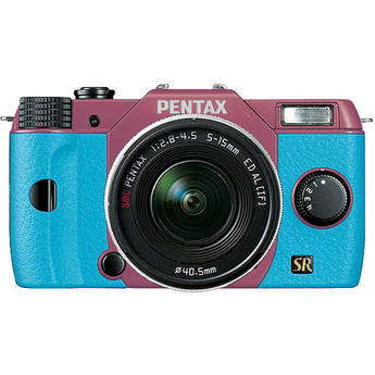 Pentax Q7 Compact Mirrorless Camera with 5-15mm f/2.8-4.5 Zoom Lens (Pink/Aqua)