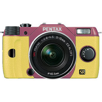 Pentax Q7 Compact Mirrorless Camera with 5-15mm f/2.8-4.5 Zoom Lens (Pink/Yellow)