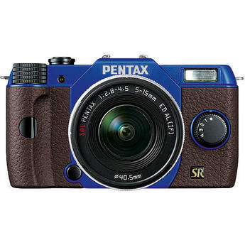 Pentax Q7 Compact Mirrorless Camera with 5-15mm f/2.8-4.5 Zoom Lens (Blue/Brown)
