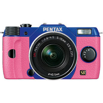 Pentax Q7 Compact Mirrorless Camera with 5-15mm f/2.8-4.5 Zoom Lens (Blue/Pink)