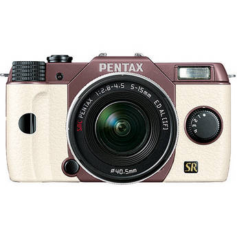Pentax Q7 Compact Mirrorless Camera with 5-15mm f/2.8-4.5 Zoom Lens (Cocoa Brown/White)