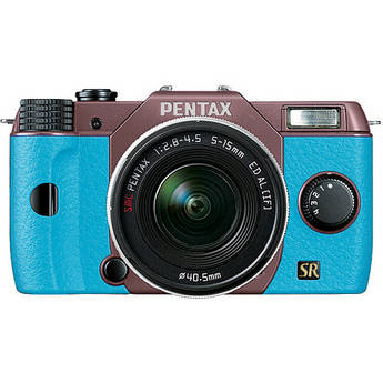 Pentax Q7 Compact Mirrorless Camera with 5-15mm f/2.8-4.5 Zoom Lens (Cocoa Brown/Aqua)