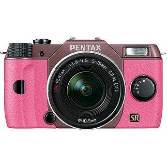Pentax Q7 Compact Mirrorless Camera with 5-15mm f/2.8-4.5 Zoom Lens (Cocoa Brown/Pink)