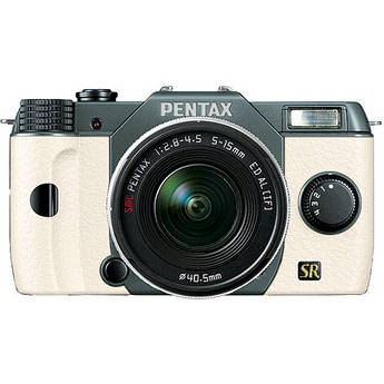 Pentax Q7 Compact Mirrorless Camera with 5-15mm f/2.8-4.5 Zoom Lens (Olive Green/White)