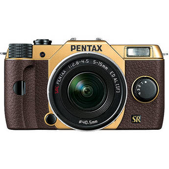 Pentax Q7 Compact Mirrorless Camera with 5-15mm f/2.8-4.5 Zoom Lens (Gold/Brown)