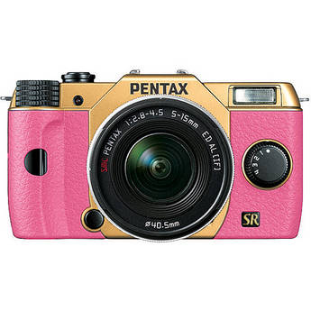 Pentax Q7 Compact Mirrorless Camera with 5-15mm f/2.8-4.5 Zoom Lens (Gold/Pink)