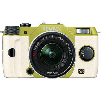 Pentax Q7 Compact Mirrorless Camera with 5-15mm f/2.8-4.5 Zoom Lens (Lime/White)