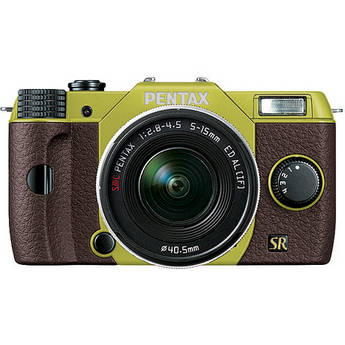 Pentax Q7 Compact Mirrorless Camera with 5-15mm f/2.8-4.5 Zoom Lens (Lime/Brown)