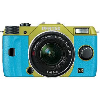 Pentax Q7 Compact Mirrorless Camera with 5-15mm f/2.8-4.5 Zoom Lens (Lime/Aqua)