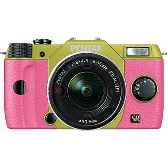 Pentax Q7 Compact Mirrorless Camera with 5-15mm f/2.8-4.5 Zoom Lens (Lime/Pink)