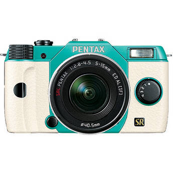 Pentax Q7 Compact Mirrorless Camera with 5-15mm f/2.8-4.5 Zoom Lens (Mint/White)