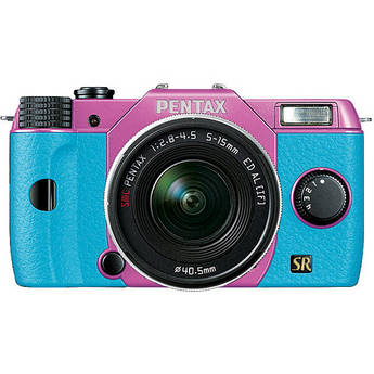 Pentax Q7 Compact Mirrorless Camera with 5-15mm f/2.8-4.5 Zoom Lens (Lilac/Aqua)