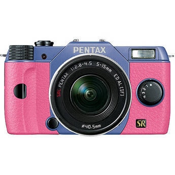 Pentax Q7 Compact Mirrorless Camera with 5-15mm f/2.8-4.5 Zoom Lens (Sky/Pink)