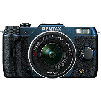 Pentax Q7 Compact Mirrorless Camera with 5-15mm f/2.8-4.5 Zoom Lens (Metal Navy/Black)