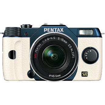 Pentax Q7 Compact Mirrorless Camera with 5-15mm f/2.8-4.5 Zoom Lens (Metal Navy/White)