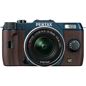 Pentax Q7 Compact Mirrorless Camera with 5-15mm f/2.8-4.5 Zoom Lens (Metal Navy/Brown)