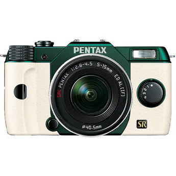 Pentax Q7 Compact Mirrorless Camera with 5-15mm f/2.8-4.5 Zoom Lens (Metal Green/White)