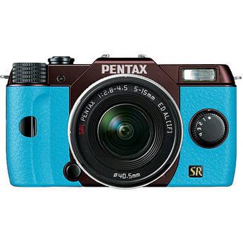 Pentax Q7 Compact Mirrorless Camera with 5-15mm f/2.8-4.5 Zoom Lens (Metal Brown/Aqua)