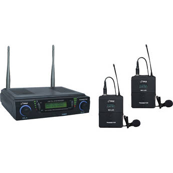 Pyle Pro PDWM3700 Dual Channel UHF Wireless Microphone System with Body Pack Transmitters & Lavalier Mics