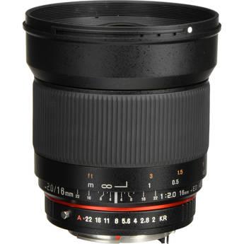 Rokinon 16mm f/2.0 ED AS UMC CS Lens for Pentax K APS-C Mount