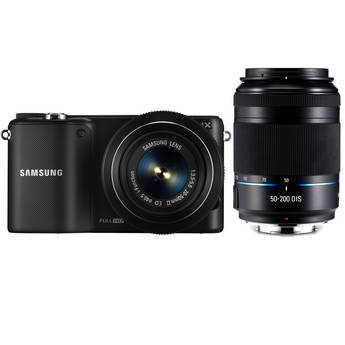 Samsung NX2000 Mirrorless Digital Camera with 20-50mm and 50-200mm Lenses (Black)