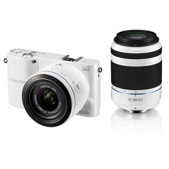 Samsung NX1000 Mirrorless Digital Camera Kit with 20-50mm and 50-200mm Lenses (White)