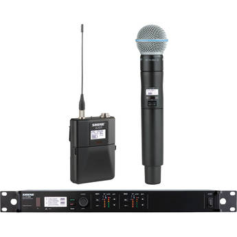 Shure ULXD124D Dual-Channel Combo Wireless System with Bodypack & Beta 58A Handheld Mic Kit (L50: 632-696 MHz)
