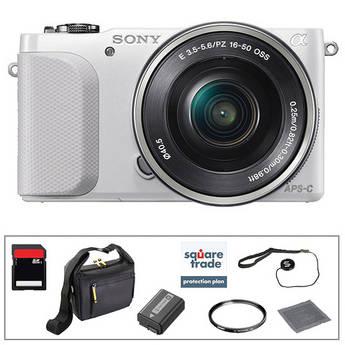 Sony Alpha NEX-3N Mirrorless Digital Camera with 16-50mm Lens Essential Accessory Kit (White)