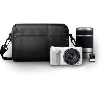 Sony Alpha NEX-F3 Mirrorless Digital Camera with 18-55mm f/3.5-5.6 and 55-210mm f/4.5-6.3 Lenses Bundle (White)