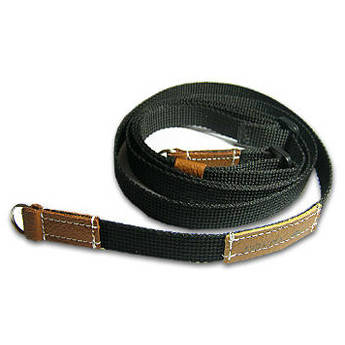 Sunlows Adjustable Length Black Poly Camera Strap with Ring (Brown Ends)