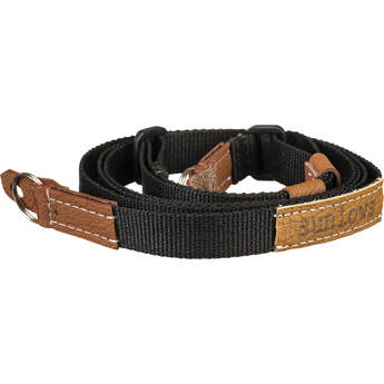 Sunlows Adjustable Length Black Poly Camera Strap with Ring & Lug Protector (Brown Ends)