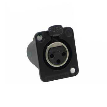 Switchcraft DE Series 7-Pin XLR Female Panel Mount Connector (Black Finish, Gold Contacts)