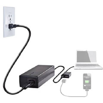 Targus Laptop Charger with USB Fast Charging Port & BlackBerry Dongle (Black)