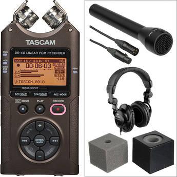 Tascam Silver DR-40 Handheld Interviewer Kit