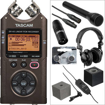Tascam Silver DR-40 Handheld and Lavalier Interviewer Kit
