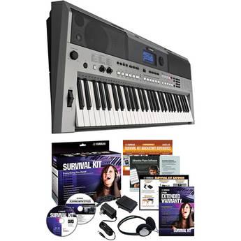 Yamaha PSR-E443 Portable Keyboard with Survival Kit Bundle