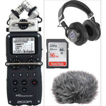Zoom H5 Handy Recorder, Headphones, and Accessories Kit