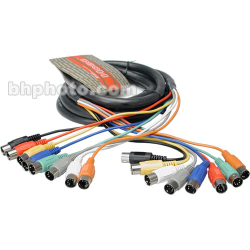 Hosa Technology 8-Channel MIDI (8x 5-Pin DIN Male to 8x 5-Pin DIN Male)  Snake Cable - 12'
