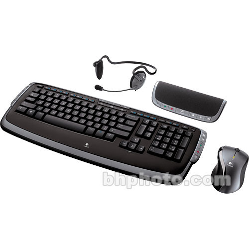 Logitech EasyCall Desktop - Wireless Keyboard and Mouse with Speakerphone  and Headset - USB
