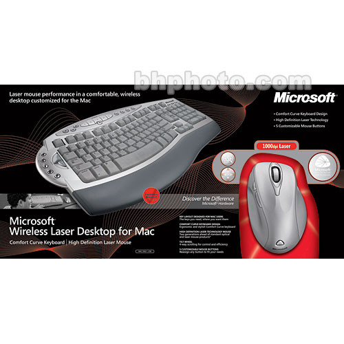 Microsoft Wireless Laser Desktop for Mac - Wireless Keyboard and Laser  Mouse - USB