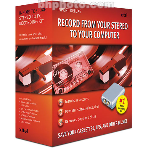 Xitel INport Deluxe Stereo to PC Recording Kit - USB Interface, LP Recorder  Software, LP Ripper Software, Wave Corrector Software