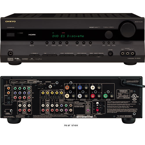 Onkyo TX-SR505 7 x 75W 7 1-Channel Home Theater Receiver - HDMI  Pass-Through, AUDYSSEY 2EQ, All Discrete Circuitry, WRAT Processing,  Optimum Gain