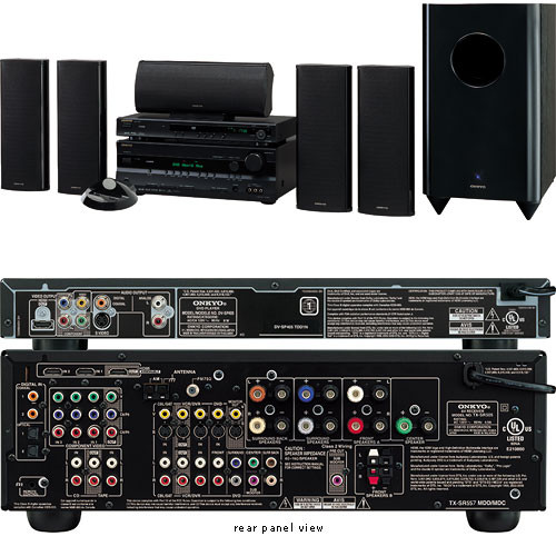 Onkyo HT-SP904B 780W 5 1-Channel Home Theater System - HDMI, HD Component,  Consists of: HT-R557 A/V Receiver, SP405 HD DVD/CD/MP3 Player, HTP-650